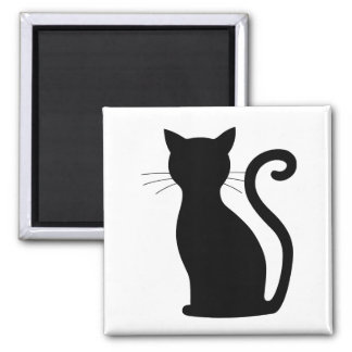 Chic Black Cat Silhouette For Her Magnet