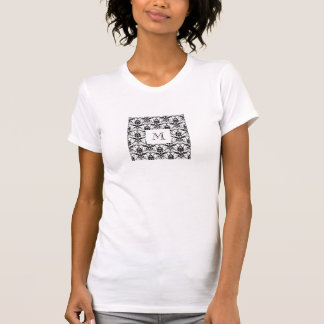 Chic Black Damask Pattern Custom Initial Monogram Tee Shirts