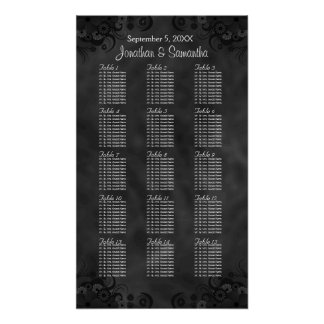 Chic Black Floral 15 Wedding Tables Seating Chart