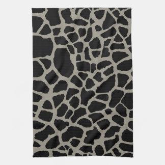 Chic Black Giraffe Print Elegant Animal Pattern Hand Towels