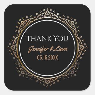 Chic Black Gold Boho Wedding | Thank You Favor Square Sticker