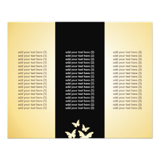 Chic Black & Gold Butterflies Tri-Fold Flyers