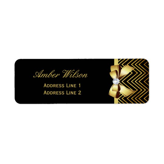 Chic Black Gold Chevrons Return Address Label