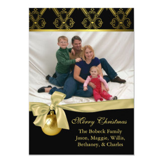 Chic Black & Gold Custom Christmas Photo Card