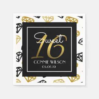 Chic Black & Gold Diamond 16th Birthday Custom Paper Napkin