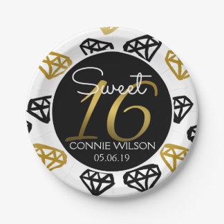 Chic Black & Gold Diamond 16th Birthday Custom Paper Plate