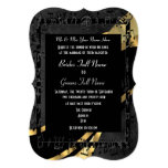 Chic black gold elegant formal wedding 13 cm x 18 cm invitation card