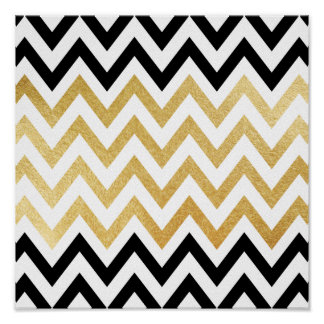 Chic black gold faux leaf chevron patterns poster