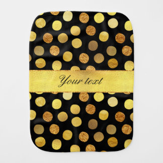 Chic Black Gold Foil Confetti Dots Burp Cloth