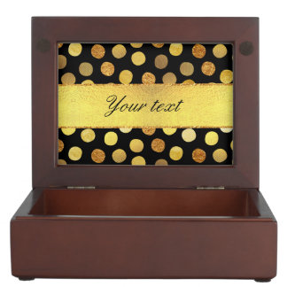 Chic Black Gold Foil Confetti Dots Keepsake Box