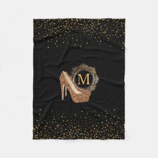 Chic Black Gold Glitter | High Heel Shoes Diva Fleece Blanket