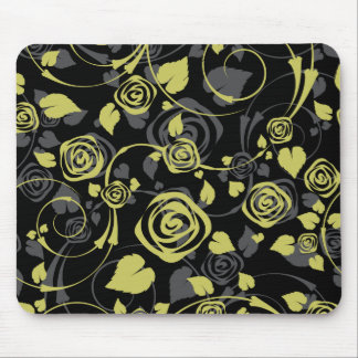 Chic Black & Green Rose Floral Computer Mouse Mousepad