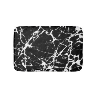 Chic Black Marble Texture White Grain Accent Bath Mat