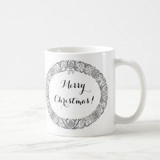 Chic Black on White Christmas Wreath to Customise Coffee Mug