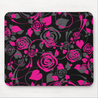Chic Black & Pink Rose Floral Computer Mouse Mouse Pads