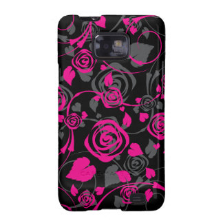 Chic Black & Pink Rose Floral Samsung Galaxy S Galaxy S2 Cover
