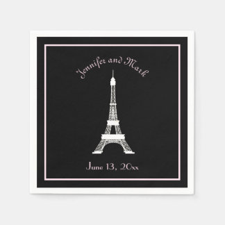 Chic Black Pink White French Eiffel Tower Wedding Disposable Napkins