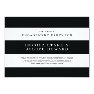 Chic Black Stripes Engagement Party Invite