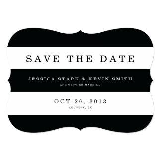 Chic Black Stripes Save the Date 13 Cm X 18 Cm Invitation Card