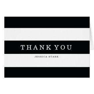 Chic Black Stripes Thank You Card
