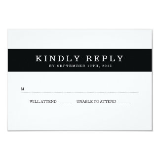 Chic Black Stripes Wedding RSVP Card