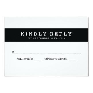 Chic Black Stripes Wedding RSVP 9 Cm X 13 Cm Invitation Card