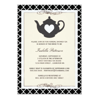 Chic Black Tan Teapot Bridal Shower Tea Party 13 Cm X 18 Cm Invitation Card