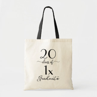 Chic Black Typography Class Of [YEAR] Graduate Tote Bag