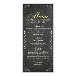 Chic Black & White Chalkboard Floral Wedding Menu Customised Rack Card
