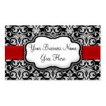 Chic Black/White Damask Red Ribbon Pack Of Standard Business Cards