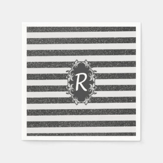 Chic black white faux glitter stripes monogram disposable serviettes