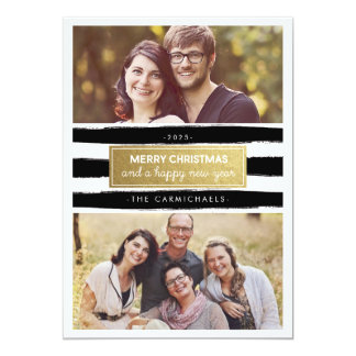 Chic Black White Gold Photo Holidays Card