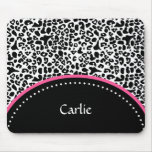 Chic Black White Leopard Print Pink Accent Name Mousemat
