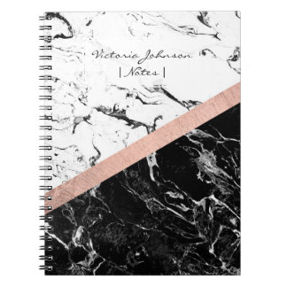Chic black white marble color block rose gold notebook