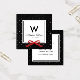 Chic Black White Polka Dot Red Ribbon Monogram Square Business Card