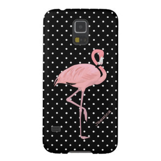 Chic Black & White Polka Dot with Pink Flamingo Galaxy S5 Cover