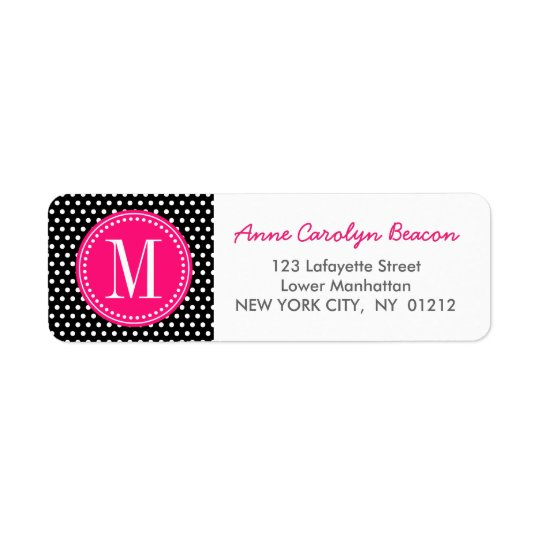 Chic Black White Polka Dots Hot Pink Personalised Return Address Label