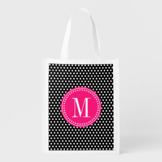 Chic Black White Polka Dots Hot Pink Personalized Reusable Grocery Bag