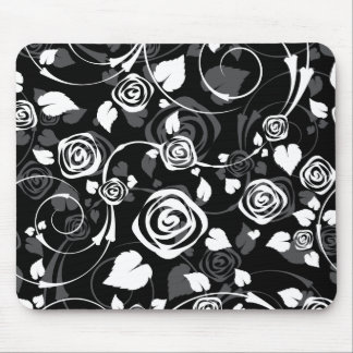 Chic Black & White Rose Floral Computer Mouse Mouse Pad