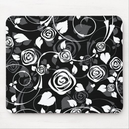Chic Black & White Rose Floral Computer Mouse Mousepads