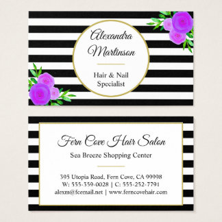 Chic Black White Striped Purple Watercolor Floral Business Card