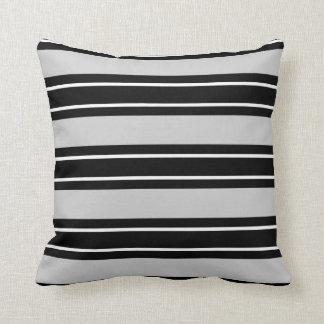 Chic Black & White Stripes, on Grey Pillow