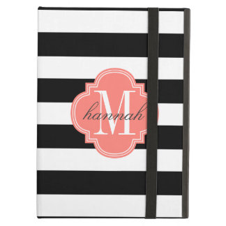 Chic Black & White Stripes Personalized Monogram Case For iPad Air