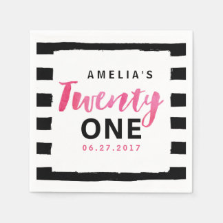 Chic Black & White Stripes Pink 21st Birthday Paper Serviettes