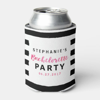 Chic Black & White Stripes Pink Bachelorette Party Can Cooler