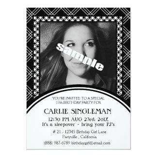 Chic Black White Teen Tween Birthday Party 14 Cm X 19 Cm Invitation Card