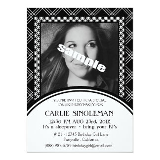 Chic Black White Teen Tween Birthday Party Card