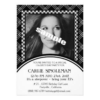 Chic Black White Teen Tween Birthday Party Invite