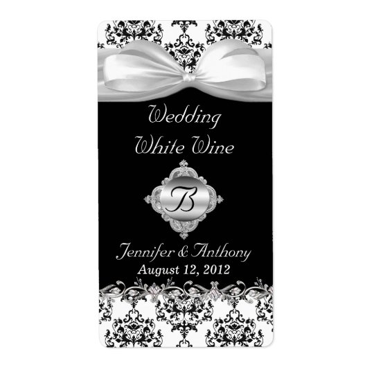 Chic Black & White Wedding Mini Wine Labels