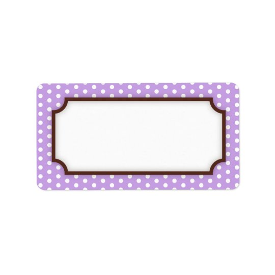 Chic blank purple violet polka dot dots pattern address label